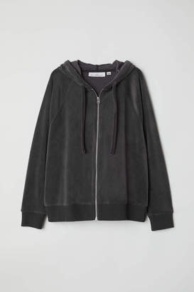 H&M Velour Hooded Jacket - Dark gray - Women