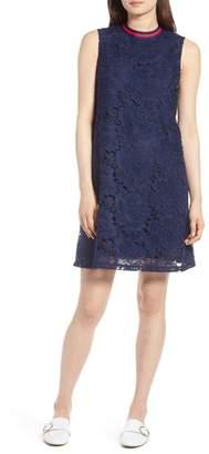 Halogen Lace Overlay Sleeveless Shift Dress (Regular & Petite)