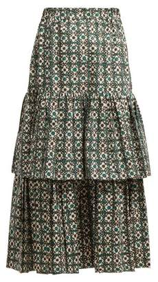Golden Goose Floral Print Gathered Tiered Skirt - Womens - Green Print