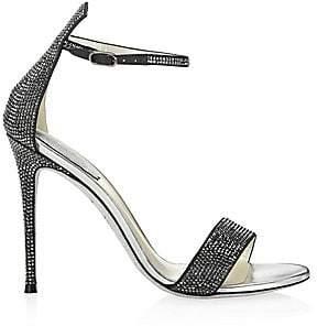Rene Caovilla Women's Satin Leather Rhinestone Sandals
