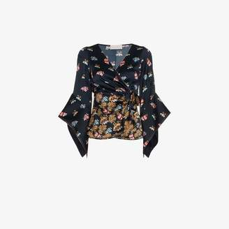 5cb164b89a2ef8 at Browns Fashion Peter Pilotto V-neck floral print silk wrap blouse