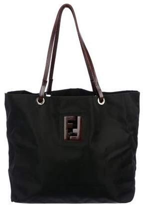 Fendi Leather-Trimmed Nylon Tote