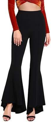 Yacun Women Flare Pants Slim Stretchy Bell Bottom Trousers XL