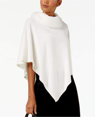 Alfani Faux-Fur-Collar Poncho Sweater