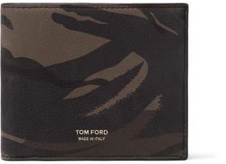Tom Ford Camouflage-Print Nubuck Billfold Wallet - Green
