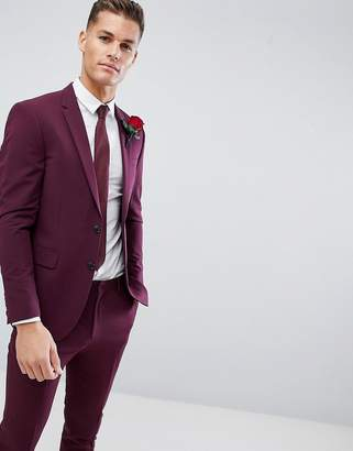 Burton Menswear suit jacket in burgundy