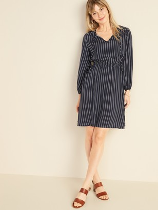 Old Navy Pinstriped Waist-Defined Tie-Neck Dress for Women