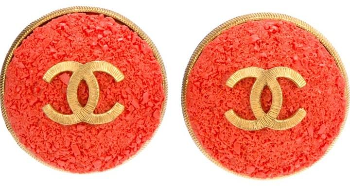 Chanel logo centre dome earrings