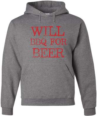 Tee Hunt Will BBQ for Beer Hoodie Funny Drinking Grilling Sweatshirt XL