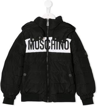 Moschino Kids logo printed padded jacket