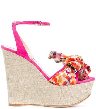 Casadei checked wedge heels