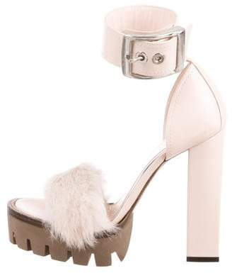 Alexander McQueen Mink-Trimmed Platform Sandals