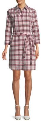 Burberry Agna Pink Check Shirtdress w/ Lace Trim