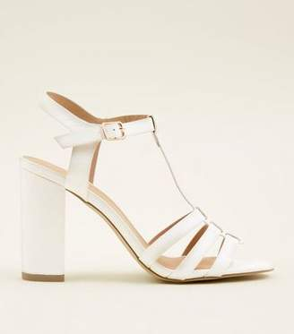 New Look White Leather-Look T-Bar Gladiator Block Heels