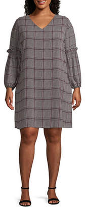 WORTHINGTON Worthington Ballon Sleeve Menswear Dress - Plus