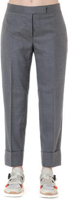 Thom Browne Pants In Gray Wool With Iconic Tricolor Trim