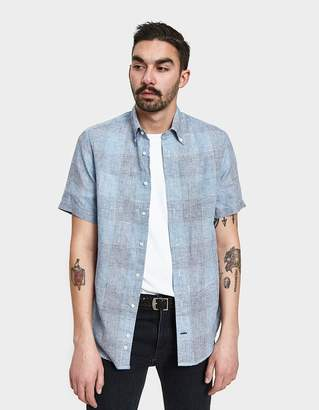Gitman Brothers Blue Linen Grid Check Shirt