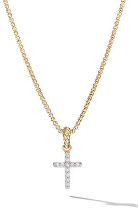 David Yurman Cable Collectibles® 18K Yellow Gold Cross Pendant with Diamonds