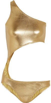 Shane One-shoulder Cutout Metallic Swimsuit - Gold