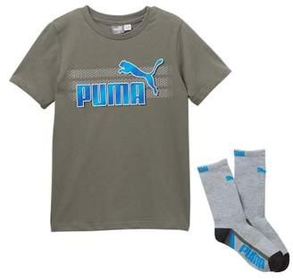 Puma Graphic Crew Tee & Crew Socks Set (Big Boys)