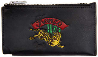 Kenzo Black Jumping Tiger Zipped Card Holder