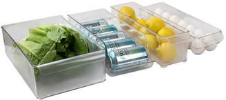 HOME BASICS Home Basics 4 Piece Multi-Purpose BPA-Free Plastic Fridge Bin Set