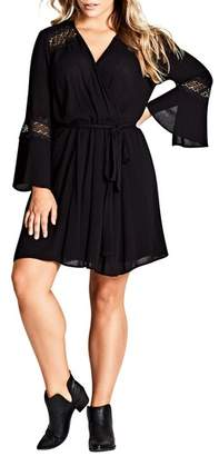 City Chic Lacey Bell Faux Wrap Dress
