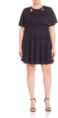 ABS by Allen Schwartz ABS, Plus Size Women's Studded Cape Overlay Dress - Black, Size 2x (18-20)