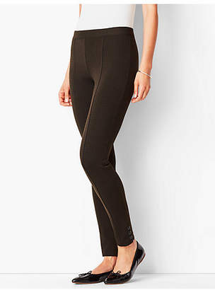 Talbots Ankle-Snap Ponte Leggings - Check