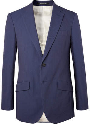 Richard James Navy Sheisen Slim-Fit Cotton-Seersucker Suit Jacket