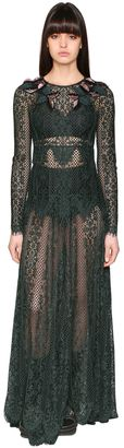 Antonio Marras Floral Embroidered Long Lace Dress