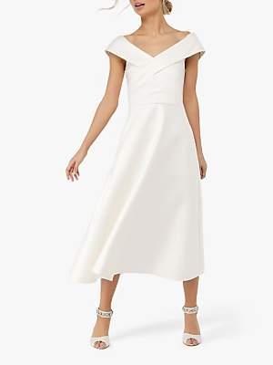 Monsoon Grace Bardot Midi Wedding Dress, Ivory
