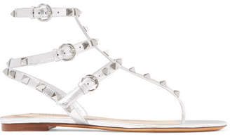 Valentino Garavani The Rockstud Metallic Leather Sandals - Silver