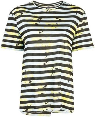 Proenza Schouler Striped Floral Splatter Short Sleeve T-Shirt