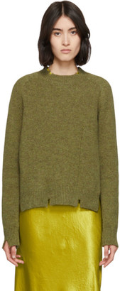 Maison Margiela Green Destroyed Crewneck Sweater