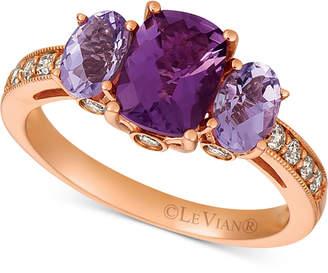 LeVian Le Vian Amethyst (1-9/10 ct. t.w.) & Diamond (1/4 ct. t.w.) Ring in 14k Rose Gold