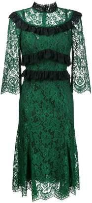 Dolce & Gabbana ruffle-trimmed lace midi-dress