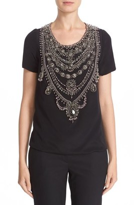 Women's Marchesa Embellished Crepe Top $1,995 thestylecure.com