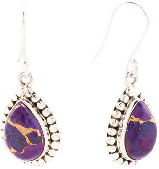 Made In India Sterling Silver Purple Turquoise Earrings