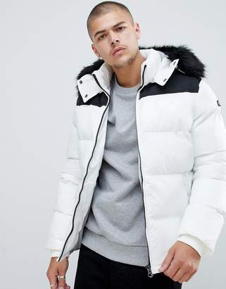 Schott Puffer Jacket Detachable Hood & Faux Fur Trim 2 Tone Slim Fit in White/Black