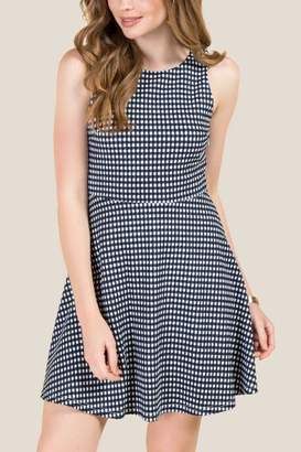 francesca's Sawyer Double Bow Back Gingham A-Line Dress - Navy