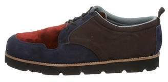 Opening Ceremony Suede-Trimmed Lace-Up Oxfords