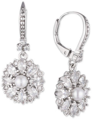 Marchesa Silver-Tone Crystal & Imitation Pearl Cluster Drop Earrings, Created for Macy's