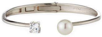 Majorica 10mm Manmade Pearl & Cubic Zirconia Split Silver Bangle Bracelet