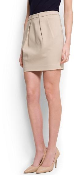 MANGO Double pleat miniskirt