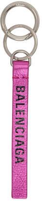 Balenciaga Pink Metallic Effect Everyday Keychain