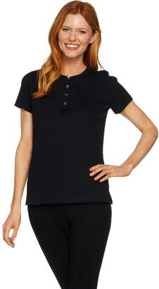 Halston H By H by Short Sleeve Rib Knit Henley Top