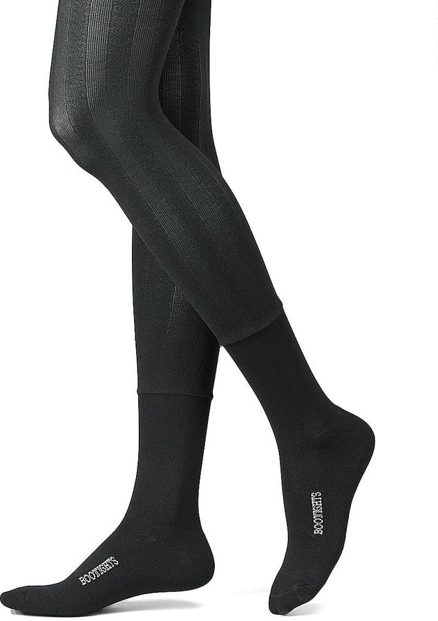 Bootights Semi-Opaque Cable Tights with Crew Sock Style
