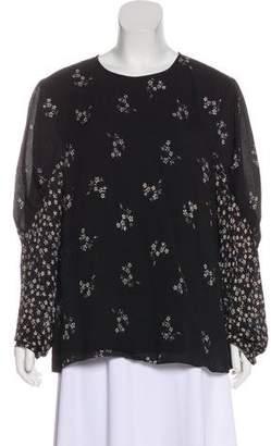 Tibi Floral Long Sleeve Top