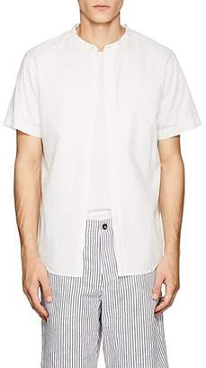 Barneys New York MEN'S BAND-COLLAR COTTON SHIRT - WHITE SIZE S